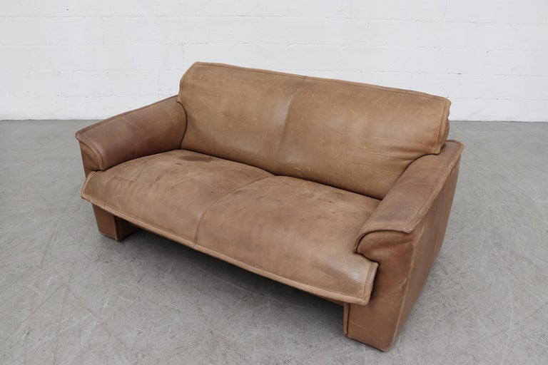 Handsome Leolux Buffalo Leather Loveseat In Good Condition For Sale In Los Angeles, CA