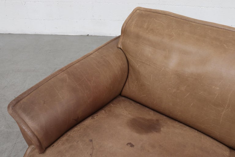Late 20th Century Handsome Leolux Buffalo Leather Loveseat For Sale
