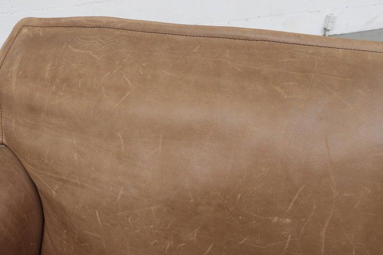Handsome Leolux Buffalo Leather Loveseat For Sale 1