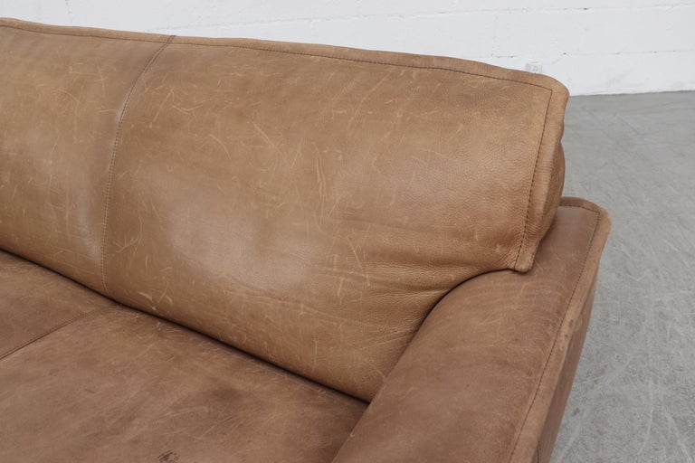 Handsome Leolux Buffalo Leather Loveseat For Sale 2