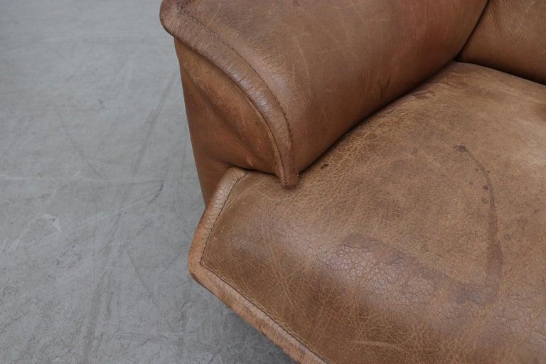 Handsome Leolux Buffalo Leather Loveseat For Sale 3