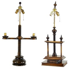 Handsome Library Book Press Lamp and Candlestick Lamp