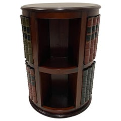 Handsome Mahogany and Leather Revolving Book Motife Cabinet