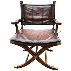 Handsome Mahogany and Leather Campaign Safari Chair