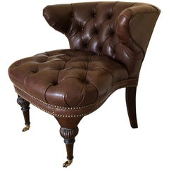 Handsome & Masculine Tufted Leather Cock Fighting Chair
