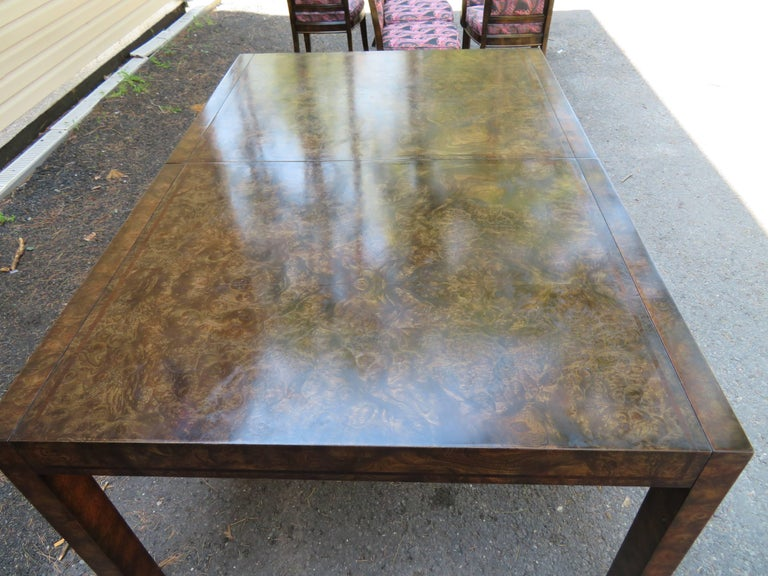 Late 20th Century Handsome Mastercraft Amboyna Burl and Brass Parsons Leg Dining Table Midcentury For Sale