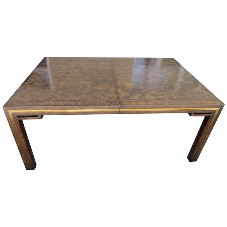 Handsome Mastercraft Amboyna Burl and Brass Parsons Leg Dining Table Midcentury For Sale