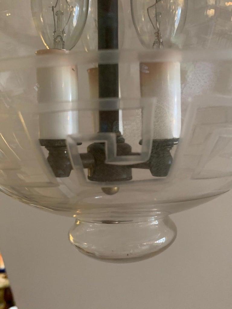 Handsome Medium Sized Lantern with Etched Greek Key Design For Sale 3