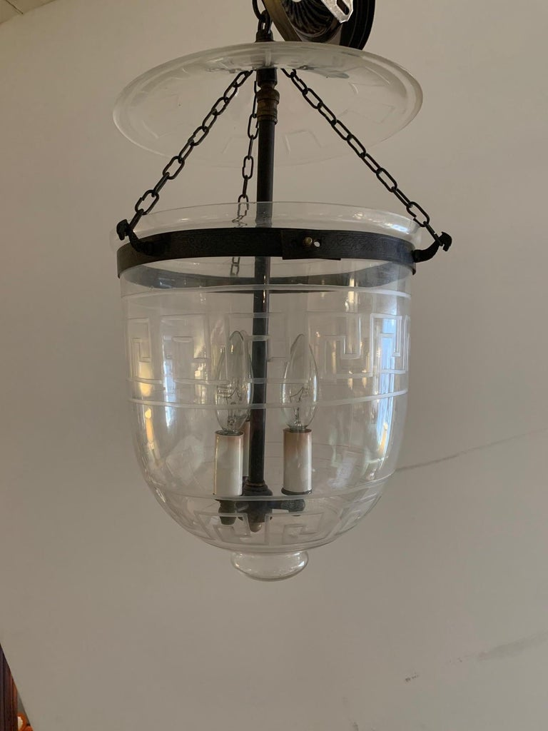 Neoclassical Handsome Medium Sized Lantern with Etched Greek Key Design For Sale