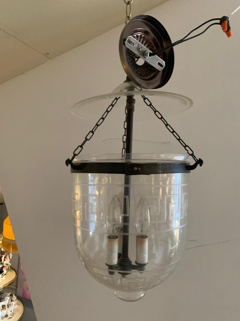 Handsome Medium Sized Lantern with Etched Greek Key Design In Good Condition For Sale In Hopewell, NJ