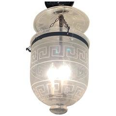 Handsome Medium Sized Lantern with Etched Greek Key Design