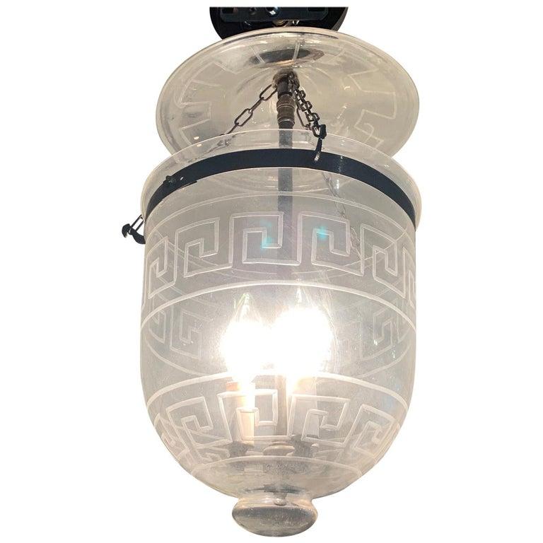 Handsome Medium Sized Lantern with Etched Greek Key Design For Sale