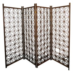 Handsome Mid-Century Modern 4 Panel Folding Screen Bohemian