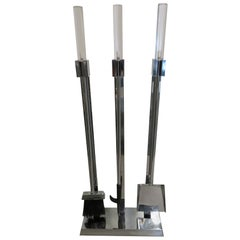Handsome Mid-Century Modern Chrome Lucite Fireplace Tool Set Albrizzi Style