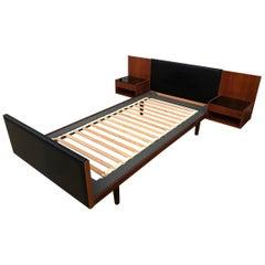 Handsome Midcentury Hans Wegner Bed GETAMA Solid Teak Black '2' Nightstands