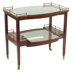 Handsome Midcentury Mahogany and Glass Bar Cart