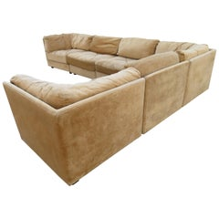 Handsome Milo Baughman Style Selig 6-Piece Cube Sofa Sectional Midcentury