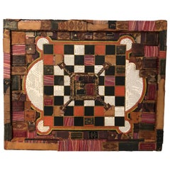 Handsome Mixed-Media Collage with Leather Books on Vintage Game Board