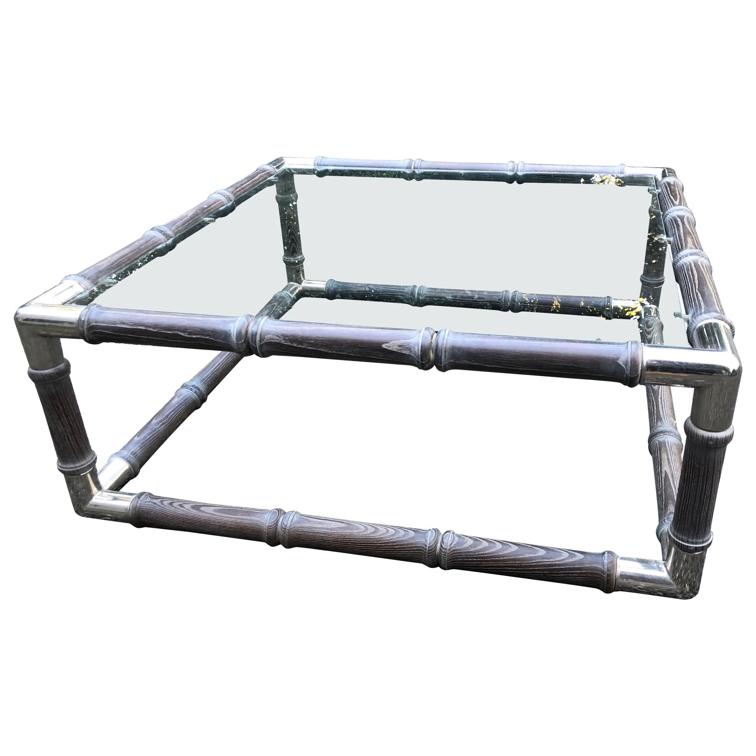 Handsome Modern Cerused Oak Nickel and Glass Coffee Table