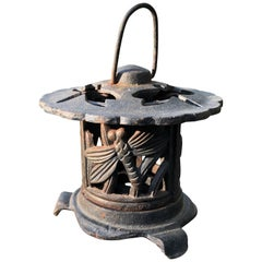 "Handsome Old Japanese Hand Cast Lantern ""Dragonfly"" Motif"