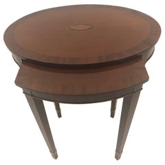 Handsome Oval Mixed Wood Inlaid Nesting Tables by Baker
