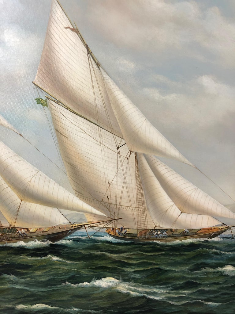 Meticulously painted canvas of heeling sailing vessels and choppy water, so crispy rendered you can practically feel the wind. Signed Cooper. Handsome ebonized wood frame and gold filet. Canvas measures 36 x 24.
