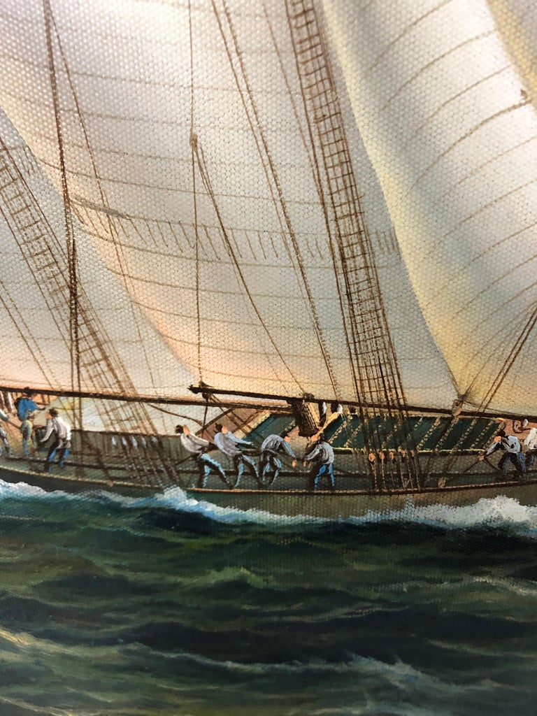 Handsome Painting of Sailing Vessels by Cooper In Excellent Condition For Sale In Hopewell, NJ