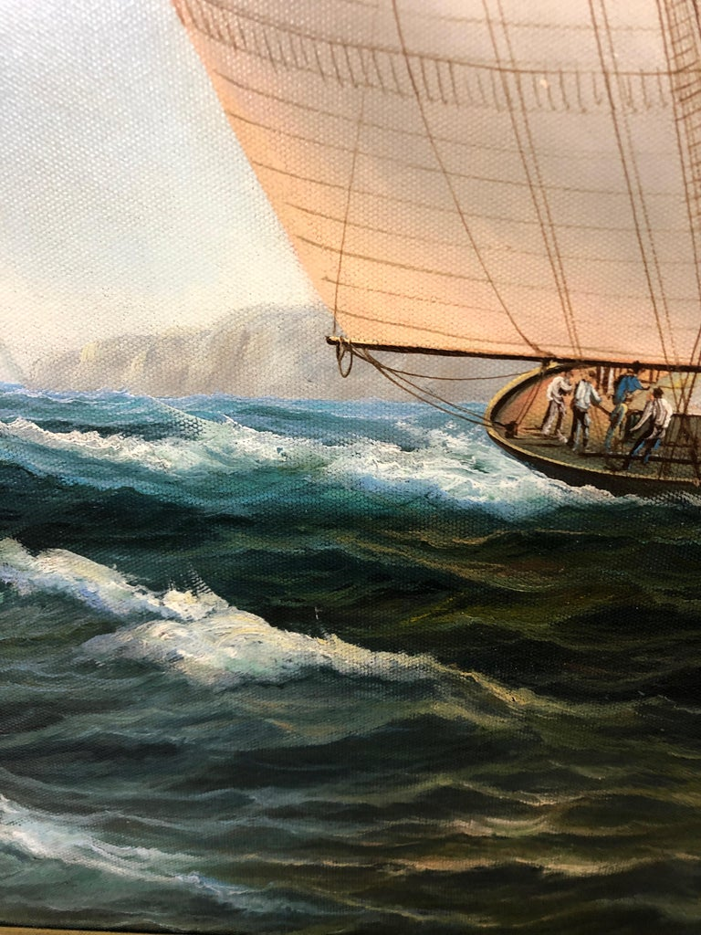 Handsome Painting of Sailing Vessels by Cooper For Sale 1