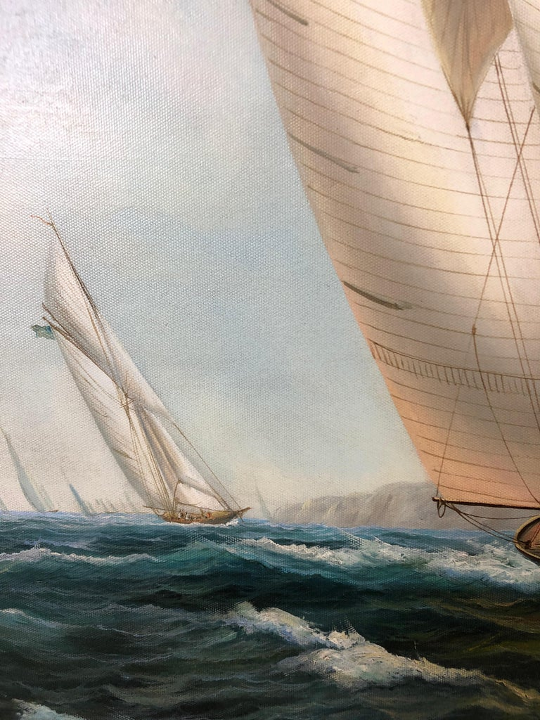 Handsome Painting of Sailing Vessels by Cooper For Sale 5