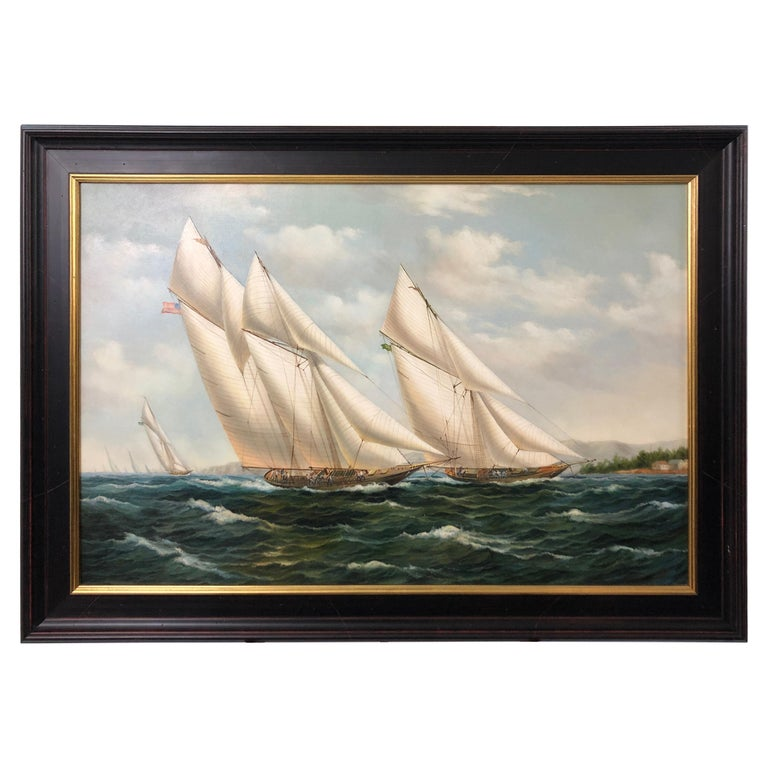 Handsome Painting of Sailing Vessels by Cooper For Sale