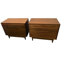 Handsome Pair of American of Martinsville Walnut Brass Louvered Bachelors Chests