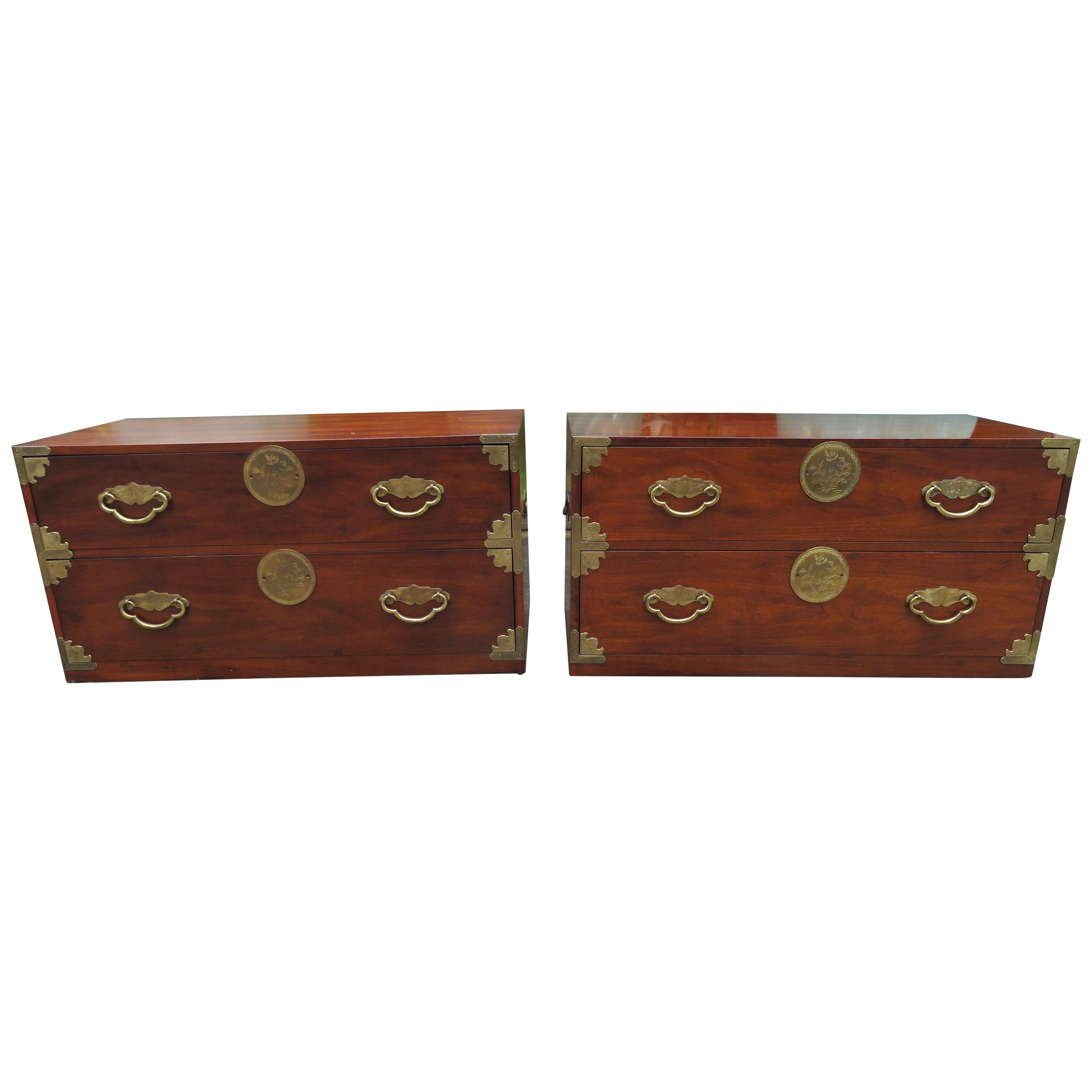Handsome Pair of Henredon Asian Campaign Bachelors Chest, Mid-Century Modern