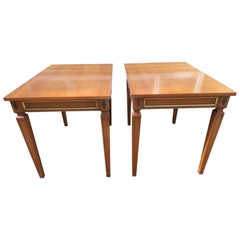 Handsome Pair of Maison Jansen Style Walnut Side End Table Hollywood Regency