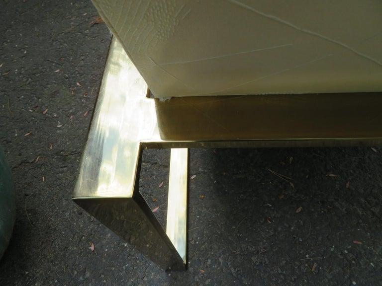 Handsome Pair Milo Baughman Brass Cube Chairs Mid-Century Modern For Sale 4