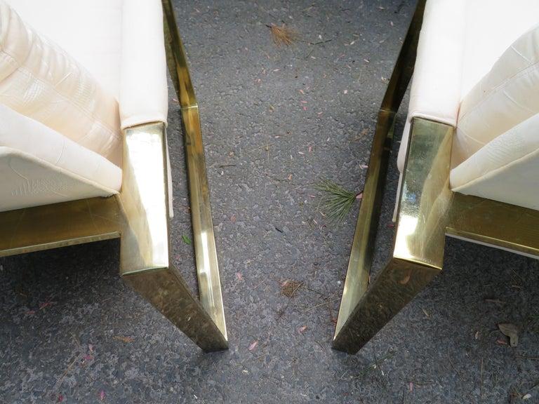Handsome Pair Milo Baughman Brass Cube Chairs Mid-Century Modern For Sale 6