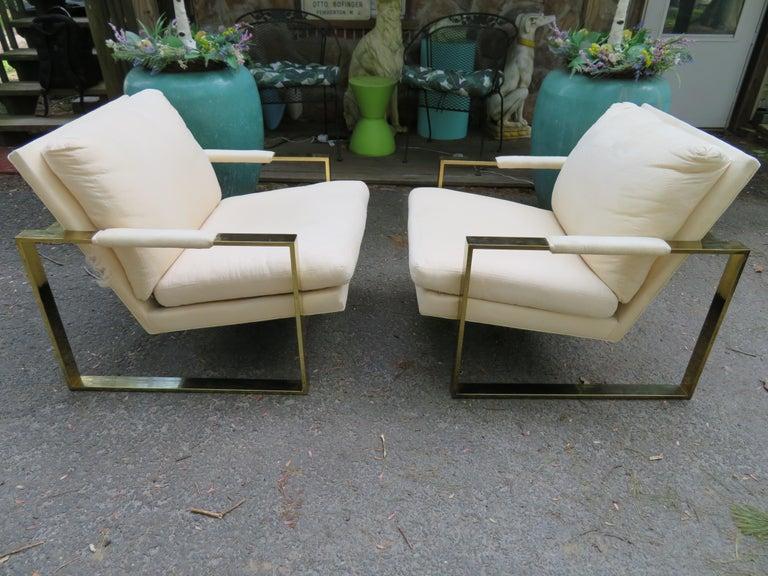 Handsome Pair Milo Baughman Brass Cube Chairs Mid-Century Modern For Sale 7
