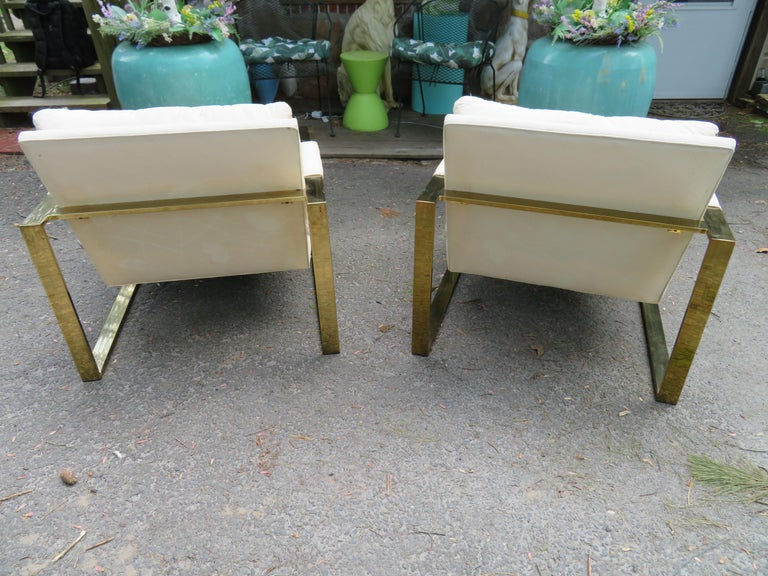 American Handsome Pair Milo Baughman Brass Cube Chairs Mid-Century Modern For Sale