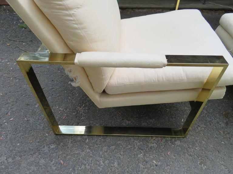 Handsome Pair Milo Baughman Brass Cube Chairs Mid-Century Modern For Sale 1
