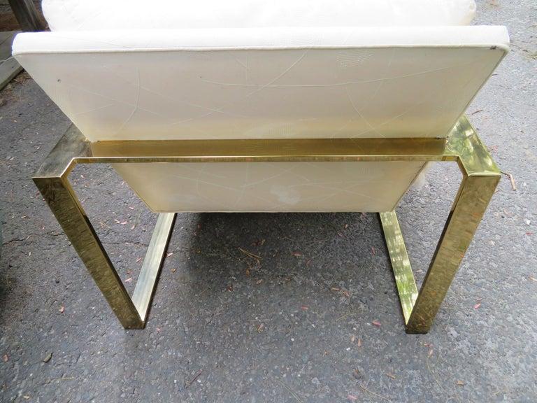 Handsome Pair Milo Baughman Brass Cube Chairs Mid-Century Modern For Sale 3