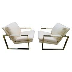 Handsome Pair Milo Baughman Brass Cube Chairs Mid-Century Modern