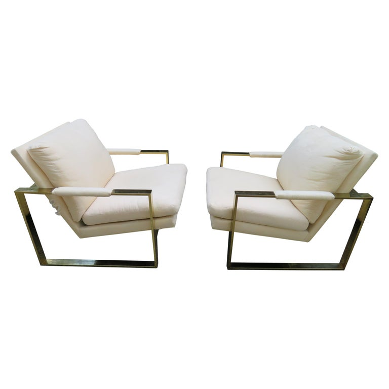 Handsome Pair Milo Baughman Brass Cube Chairs Mid-Century Modern For Sale