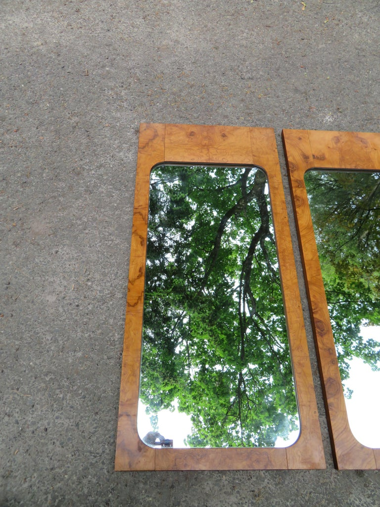 Handsome Pair of Lane Burl Mirrors Mid-Century Modern For Sale 6