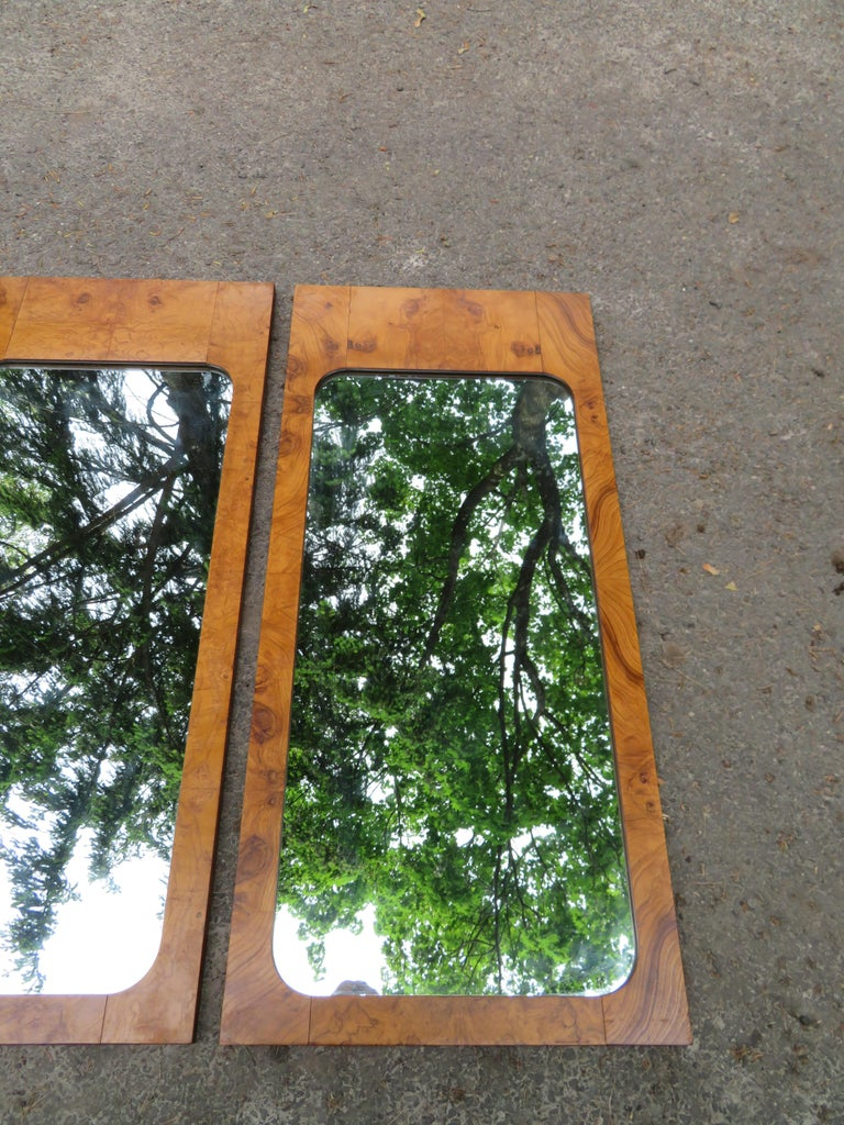Handsome Pair of Lane Burl Mirrors Mid-Century Modern For Sale 7