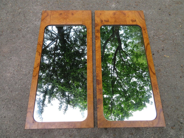 Handsome Pair of Lane Burl Mirrors Mid-Century Modern For Sale 9