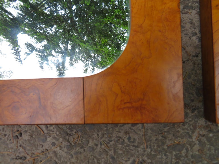 American Handsome Pair of Lane Burl Mirrors Mid-Century Modern For Sale