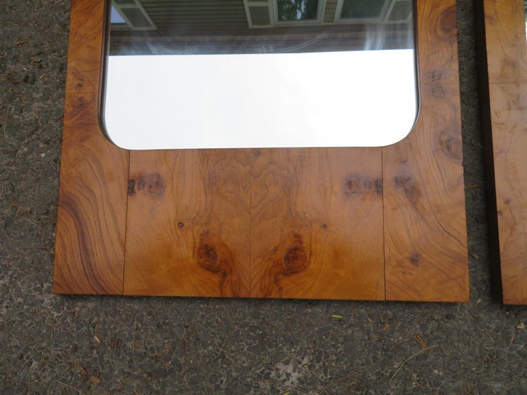 Handsome Pair of Lane Burl Mirrors Mid-Century Modern For Sale 1