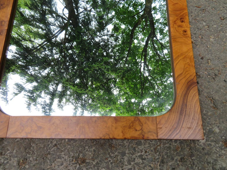 Handsome Pair of Lane Burl Mirrors Mid-Century Modern For Sale 2