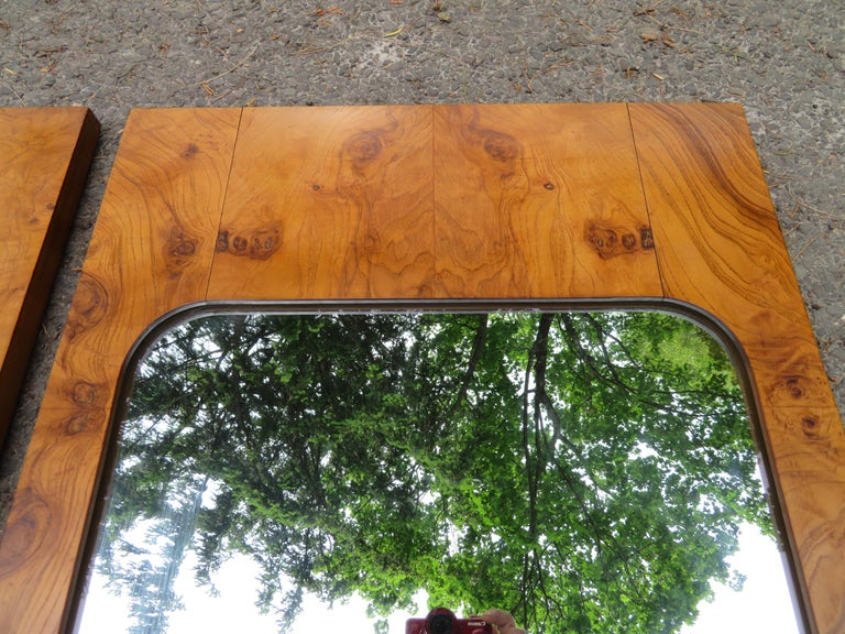 Handsome Pair of Lane Burl Mirrors Mid-Century Modern For Sale 4
