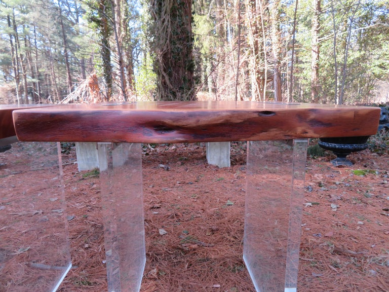 Handsome Pair of Nakashima Style Walnut Lucite Live Edge Side End Tables For Sale 5