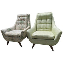 Handsome Pair of Adrian Pearsall Style Scoop Lounge Chairs Mid-Century Modern